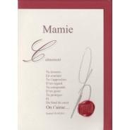 """""""Mamie, on t'aime"""" poème de Raphaël Romero sur carte double."""