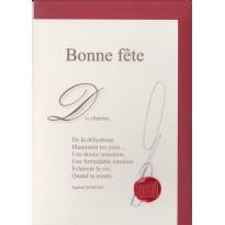 """""""Bonne Fête"""" poème de Raphaël Romero sur carte double."""
