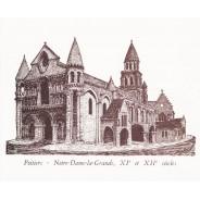 Eglise Notre Dame la Grande de Poitiers, dessin à la plume et encre de chine sur carte double.
