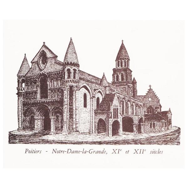 Carte double d 39 un dessin la plume de notre dame la - Eglise dessin ...