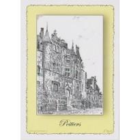 Carte Postale Hôtel Fumé de Poitiers, plume et encre de chine en encadré