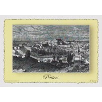 Carte Postale Vue de Poitiers, plume et encre de chine en encadré