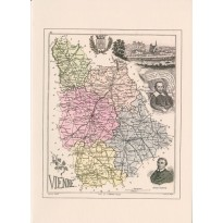 Carte postale reproduction ancienne carte géographique de la Vienne-