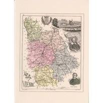 Carte d'une ancienne carte géographique de la Vienne-