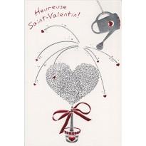 Carte de Saint Valentin avec un joli coeur  que l'on soigne avec amour !