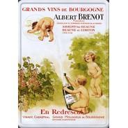 """Magnet émaillé  """"En Redrescul"""" Champagne Albert Brenot"""