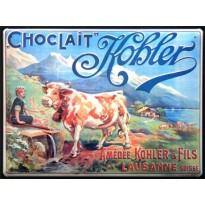 Magnet publicitaire émaillé bombé Chocolat Kohler