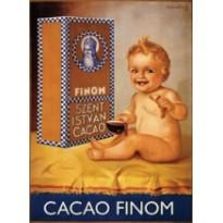 Cacao Finom, Magnet métal publicitaire style retro