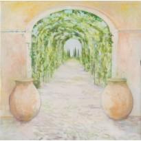 Tonnelle de Cyprès, aquarelle reproduite en carte postale