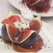 Figues fraîches, bresaola et Mascarpone, carte postale photo d'art