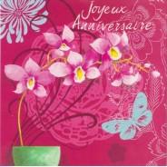 Joyeux Anniversaire, carte postale à branche d'orchidées