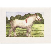 Cheval Percheron, cheval de trait, carte reproduction d'aquarelle