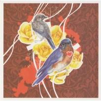 Oiseaux Bleus en couple, carte d'art