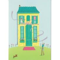 Maison du Bonheur, carte postale à paillettes