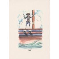 """Pirate """"Tintin Francoeur"""", carte postale aquarellée"""