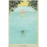 """""""Au secours!"""" rencontre avec une grenouille, carte postale pour enfants"""