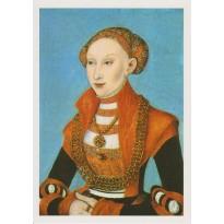 Portrait de Sybille Herzogin von Sachsen par Lucas Cranach, reproduction sur carte postale