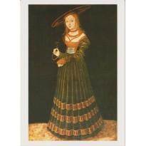 Portrait de jeune femme au myosotis par Lucas Cranach, carte postale reproduction