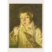 Jeune homme allumant la bougie, tableau d'El Greco reproduit sur carte postale