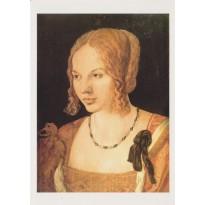 Jeune vénitienne par Albert Dürer, reproduction du tableau sur carte postale