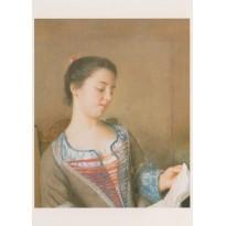Portrait de Mademoiselle Lavergne de Jean-Etienne Liotard, reproduction du tableau en carte postale
