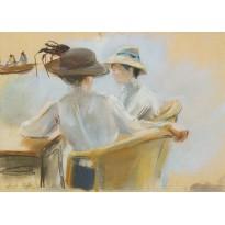 """""""Femmes au bord de l'eau"""" tableau de Max Liebermann reproduit en carte postale."""