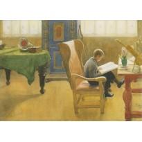 """""""Esbjörn dans le fauteuil"""" de Carl Larsson, carte postale reproduisant le tableau."""