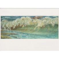 """""""Les Chevaux de Neptune"""" de Walter Crane, reproduction du tableau sur carte postale"""