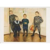 Les 4 fils du Docteur Linde d'Edvard Munch, reproduction du tableau sur carte postale