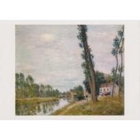 """Paysage de bord de rivière"""" d'Alfred Sisley, carte postale reproduction du tableau"""