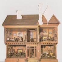 4 Maisons de poupées différentes, reproductions sur cartes des maisons de poupées en bois de Thomas Risley.