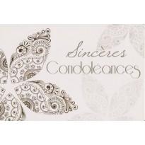 Sincères Condoléances, carte double motifs or