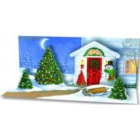 Porte de la maison décorée pour Noël, Carte Musicale en 3 D