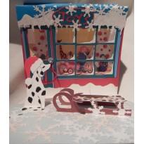 Magasin de jouets, carte de Noël en 3 D