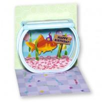 Anniversaire et poisson rouge, carte d'anniversaire en 3 D