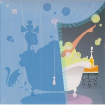 Heure du Bain, carte en 3 D pour anniversaire ou fête d'une jeune femme
