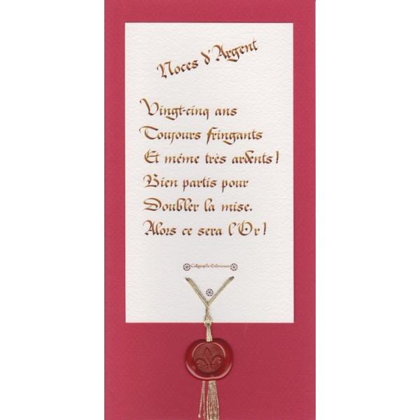 Cartes Pour Anniversaire De Mariage 25 Ans Noces Dargent