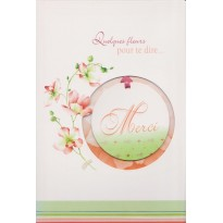 Quelques Fleurs pour te dire MERCI, carte de remerciements avec mobile.