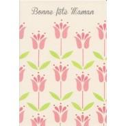 Bonne Fête Maman ! carte à fleurs vert et rose