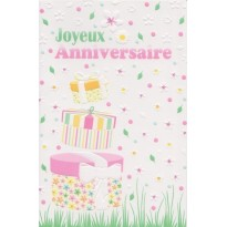 Set de 4 Cartes d'anniversaires avec motifs en relief