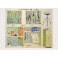 Ustensiles de Cuisine, set de 5 cartes reproductions tableaux pédagogiques