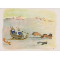 Les Lutins en promenade dans la neige, carte postale enfant