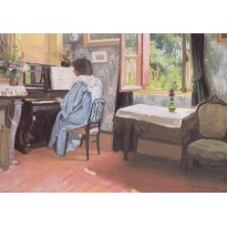 """Une dame au piano"" de Félix Vallotton, carte d'art"