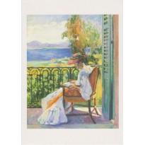 """""""Jeanne sur le balcon de la Villa Demière"""" par Henri Manguin, carte d'art"""