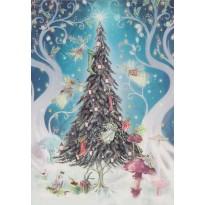 Sapin de Noël illuminé et les cadeaux, carte de Noël