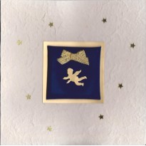 Ange doré , carte de Noël artisanale avec sujet scrapbooking