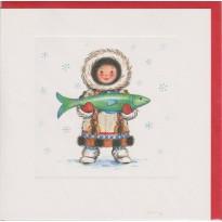 Joyeuses Fêtes sur la banquise : Inuit et son poisson