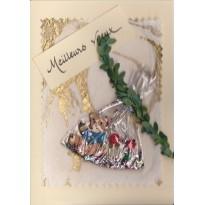 Les Petits Ours bruns vous souhaitent un Joyeux Noël, carte de meilleurs voeux avec sujet scrapbooking