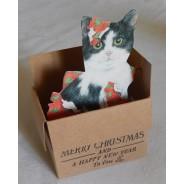 """Carte de voeux pop up """"Chat sortant de sa boite cadeau"""""""
