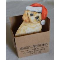 Un chiot Père Noël ! carte de voeux 3D, papier recyclé